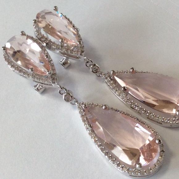 57 off jewelry morganite quartz white topaz chandelier earrings morganite quartz white topaz chandelier earrings mozeypictures Gallery